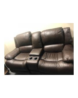Dark Brown Loveseat with...