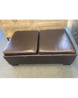 VENICE BROWN LEATHER OTTOMAN