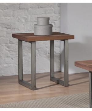 Industrial Walnut End Table