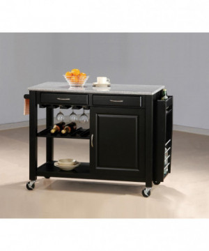 Black Kitchen Cart With...
