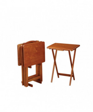 Brown Tray Table Set With...