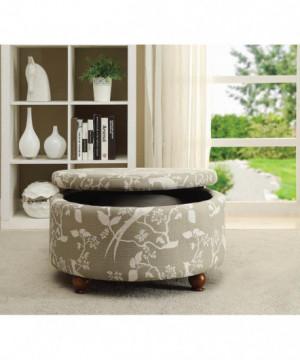 Grey Round Storage Ottoman