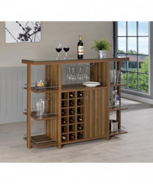 Modern Walnut Bar Unit With...