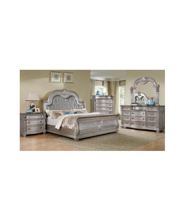 Amalfi Charlotte Bedroom In Silver 6pc Set Queen Size