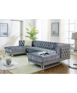MS 2069 Sectional Velvet Grey