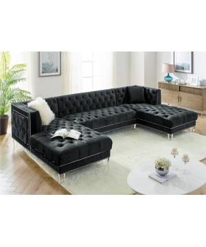 MS 2069 Sectional Velvet Black