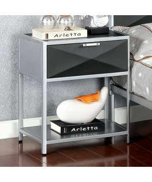 Largo Night Stand Silver/Gray