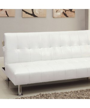 Bulle Futon Sofa White/Chrome