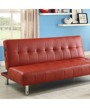 Bulle Futon Sofa Red/Chrome