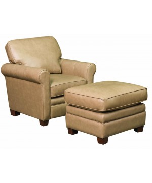 Light Brown Leather Ottoman...