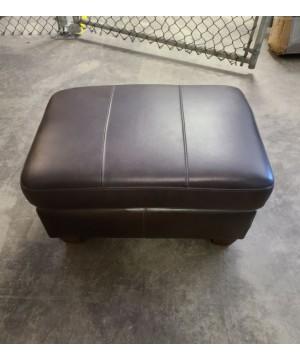 Brown Leather Ottoman -...